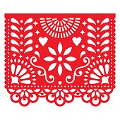 Cut out template with flowers and leaves, festive floral composition in red isolated on white