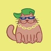 Cut Rapper Cat. Vector Illustration.