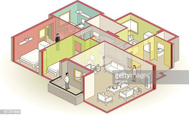 cutaway apartment - conversion sport stock illustrations