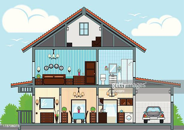 cutaway of house - cutaway drawing stock illustrations