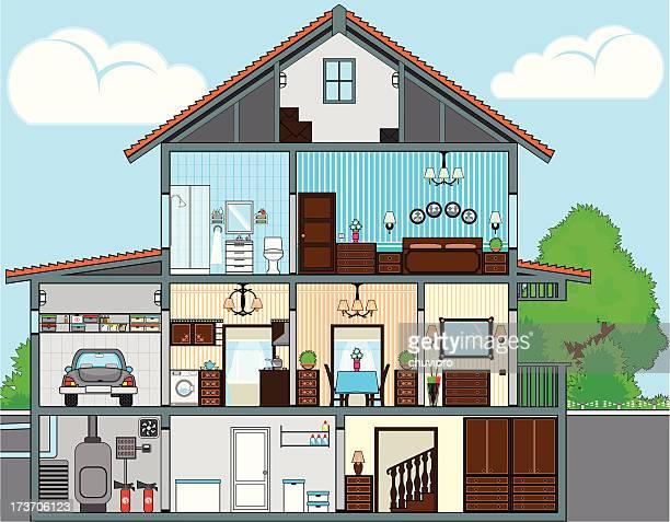 stockillustraties, clipart, cartoons en iconen met cutaway of house - binnenin