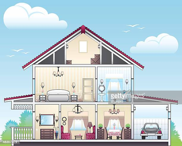 cutaway of house - house interior stock illustrations, clip art, cartoons, & icons