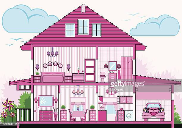 カットアウェイのピンクハウス家具付き
