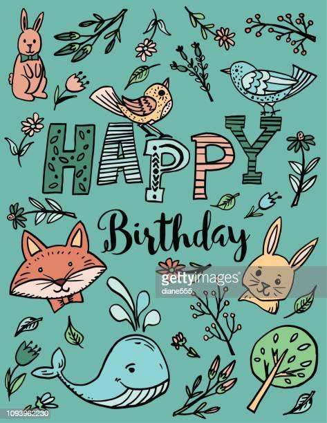 cute a b c chidlrens doodles birthday card - birthday card stock illustrations