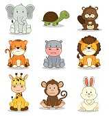 cute adorable animal icon set