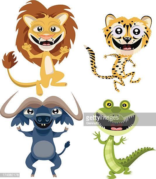 かわいいアフリカ動物のページ - named animal点のイラスト素材/クリップアート素材/マンガ素材/アイコン素材