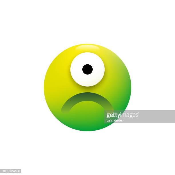cute alien emoticon - bad luck stock illustrations, clip art, cartoons, & icons