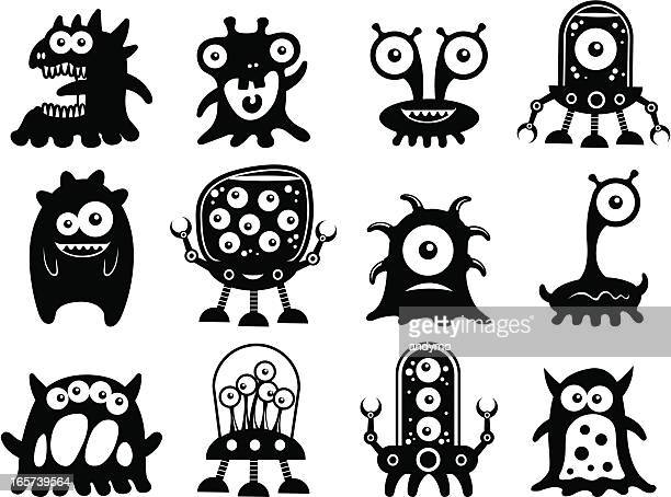 ilustraciones, imágenes clip art, dibujos animados e iconos de stock de linda alien siluetas - monstruo