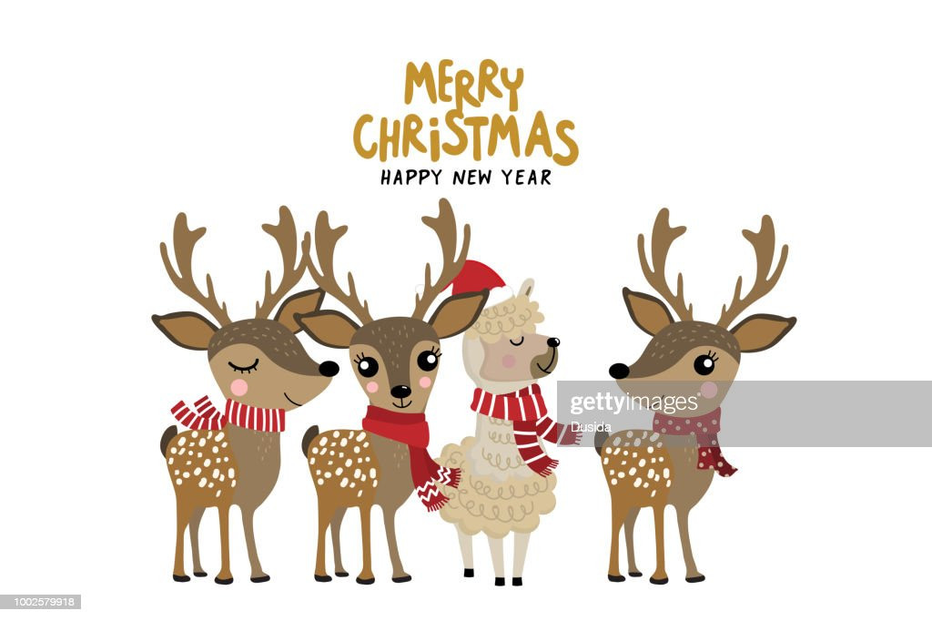 Cute alpaca and deer wear Christmas costume. Animal holiday cartoon character.