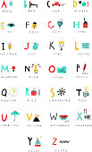 Cute alphabet. Letters and words. Learn to read. Isolated.