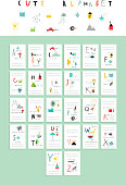 Cute alphabet . Vocabulary cards. Learn to read. Isolated.