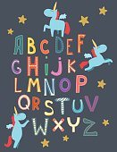 Cute alphabet with a unicorn for kids