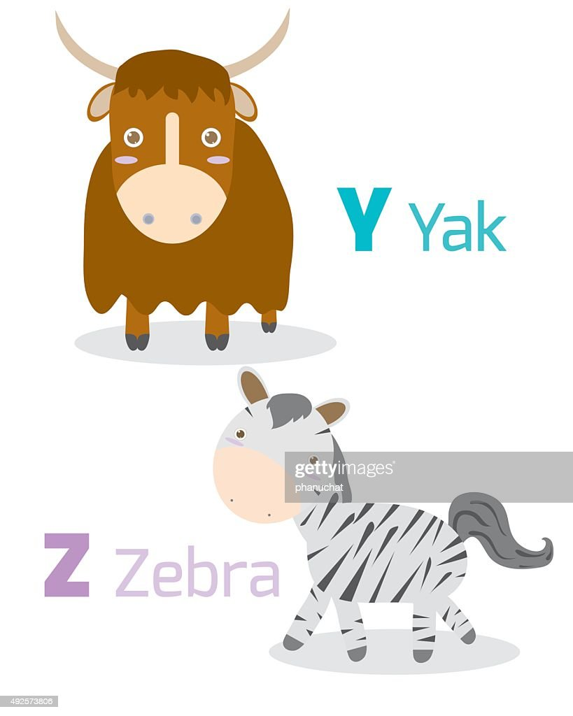 Cute alphabet with funny animals from Y Z