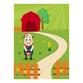 cute and adorable sheep mascot in the barnyard or farm, cartoon character