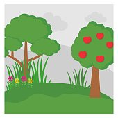 cute and coolest cartoon scenery of apple tree and ordinary tree