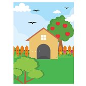 cute and coolest cartoon scenery of front or backyard with apple tree