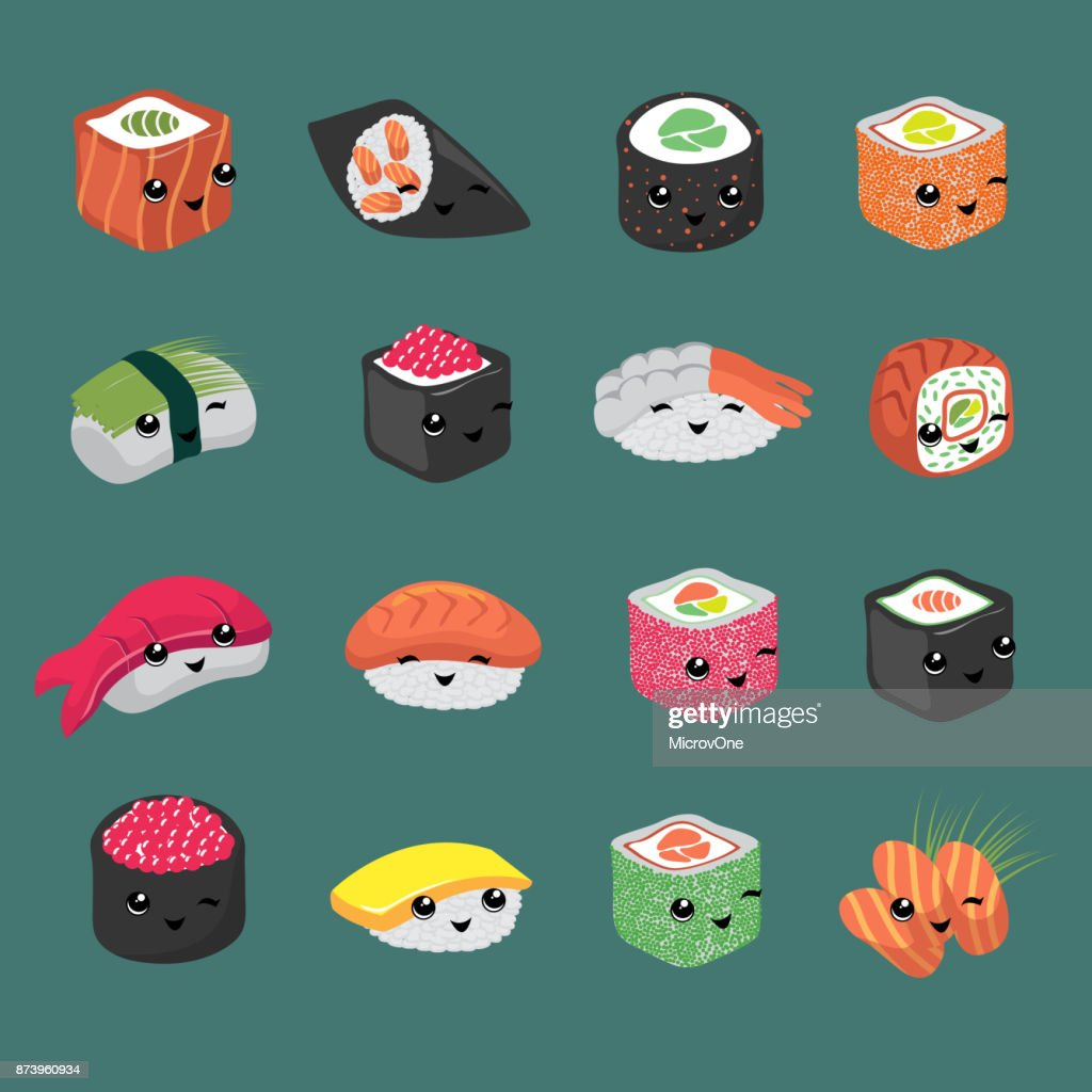 Cute and fun japanese sushi vector cartoon characters