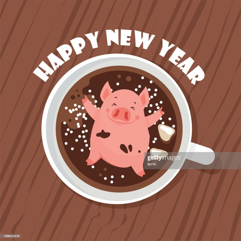 Cute and funny Happy New Year greeting card , year of a pig. Cute pigglet chilling in a cup of winer drink. Excellent for the design of postcard, poster, sticker, banner and so on. Vector illustration.