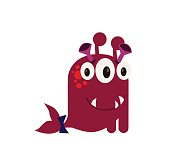 Cute and Funny Monster Avatar - Animated Cartoon Character in Flat Vector