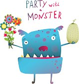Cute and Funny Monster with Bunch of Flowers Fruit Congratulating