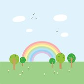 Cute and simple vector Landscape with Rainbow, Trees, Birds and Flowers.