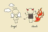 Cute angel and devil doodle
