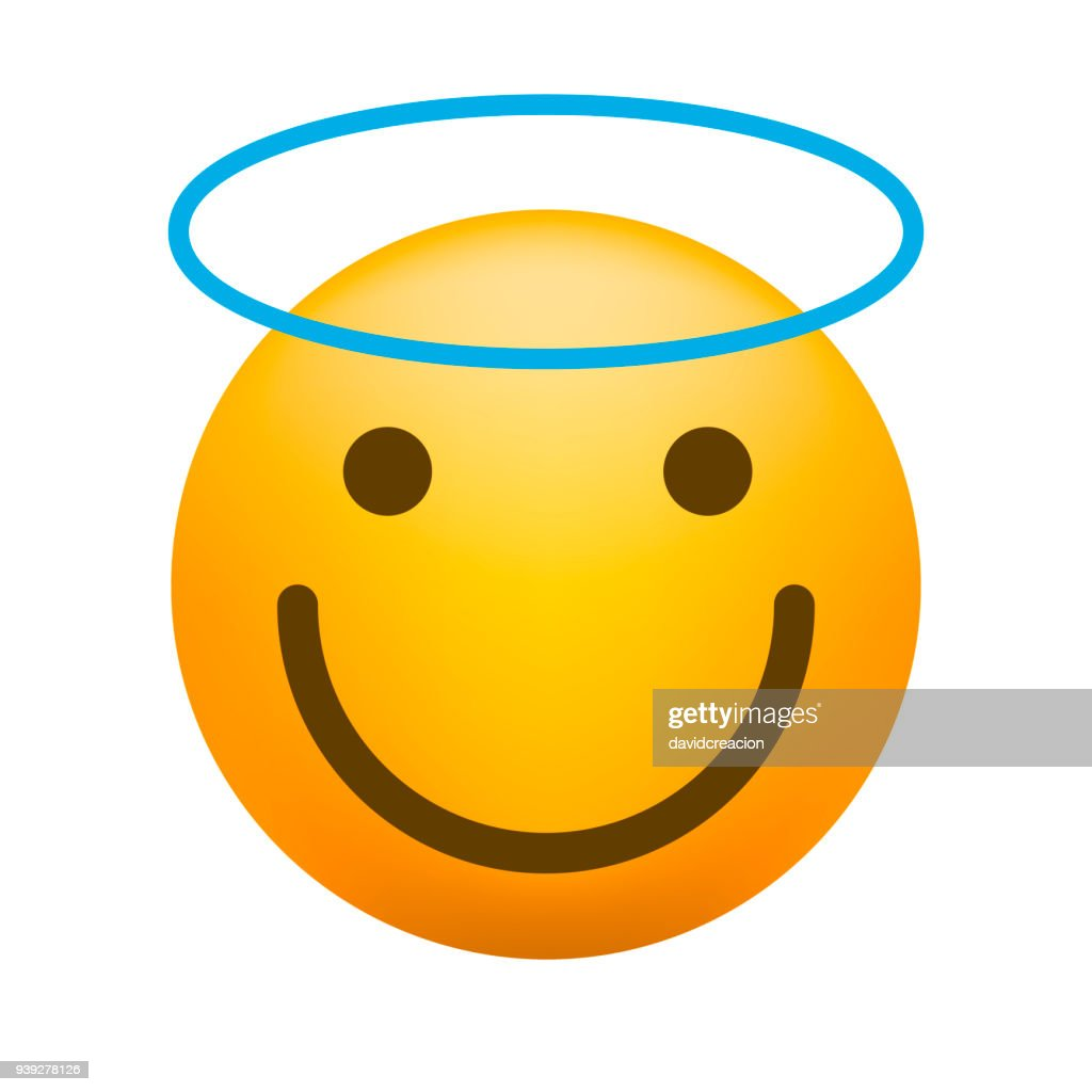 Cute Angel Emoticon on White Background. Isolated Vector Illustration