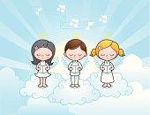 Cute angel kids singing