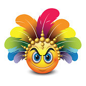 Cute angry look emoticon isolated on white background with carnival headdress -emoji - smiley - vector illustration