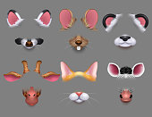 Cute animal ears and nose video effect filters. Funny animals faces masks for mobile phone vector set