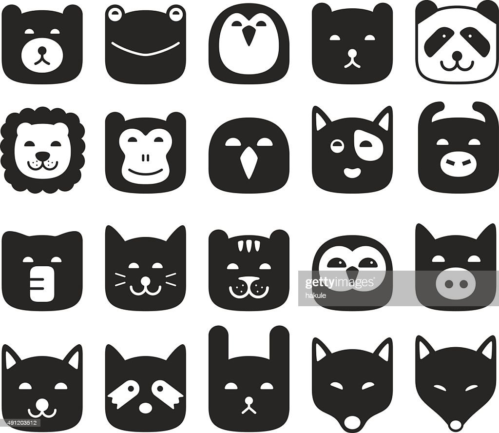 cute animal face flat icon set, vector illustration