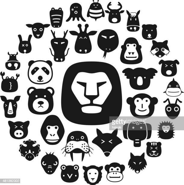 Animal rapaz face plana ícone design plano de caracteres
