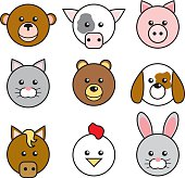 Cute Animal Face Icons