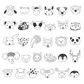 Cute animal faces illustrations set