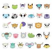 Cute animal faces illustrations set