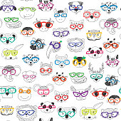 Cute animal faces seamless pattern
