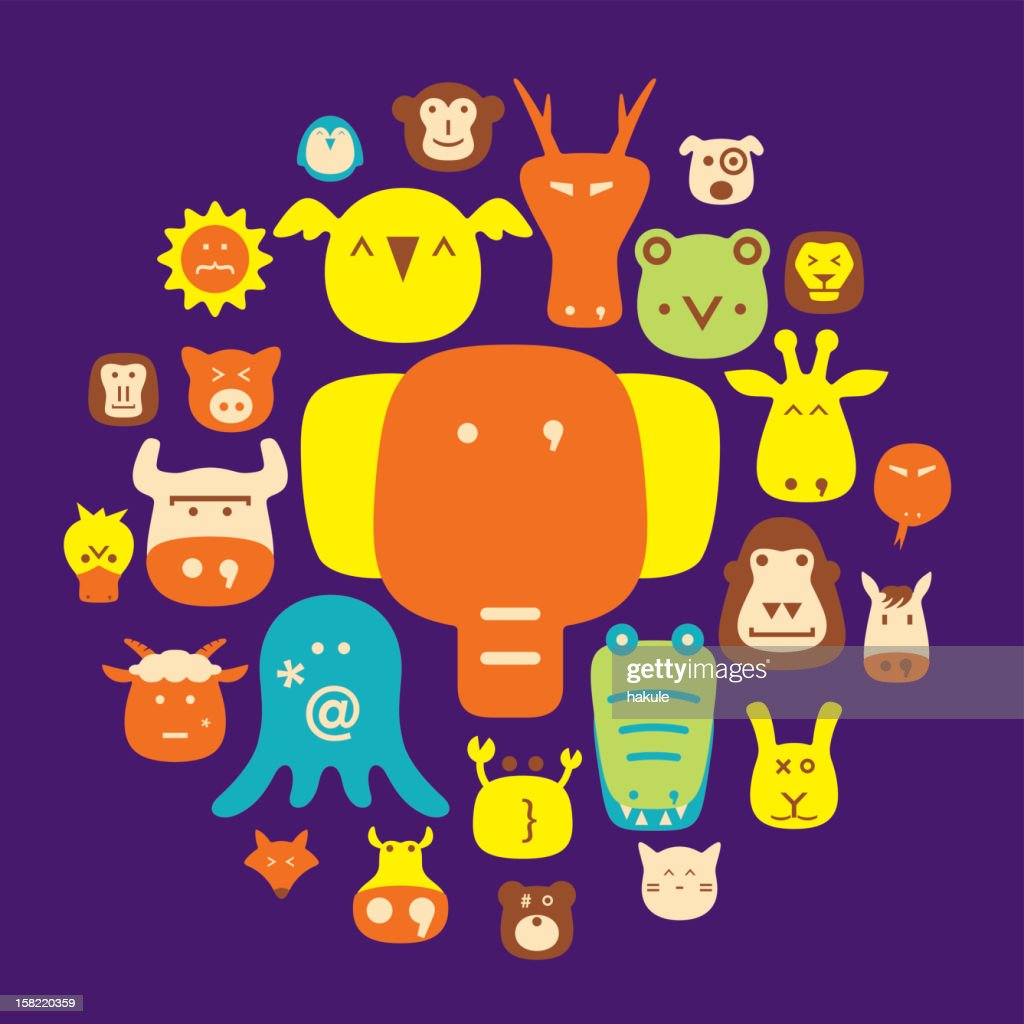 cute animal faces set, cartoon vector illustration flat icons