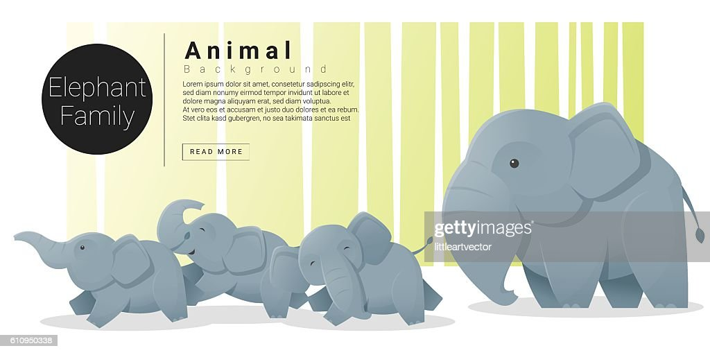 Cute animal family background with Elephants 1