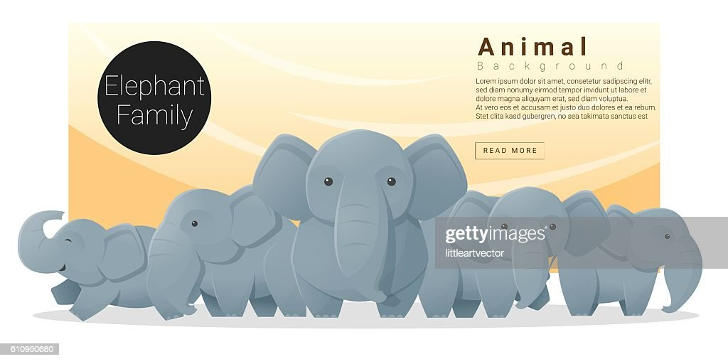 Cute animal family background with Elephants 2