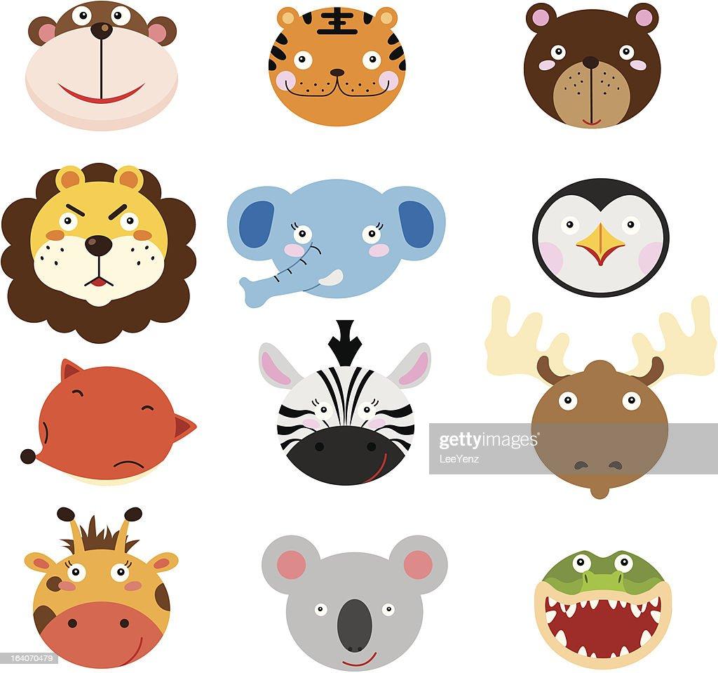 Cute Animal Heads Set