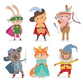Cute animal kids in different costume. Cartoon vector illustration
