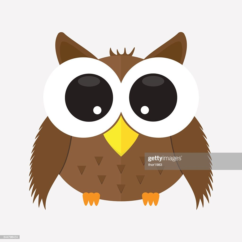 cute animal owl with glass cartoon character icon isolated