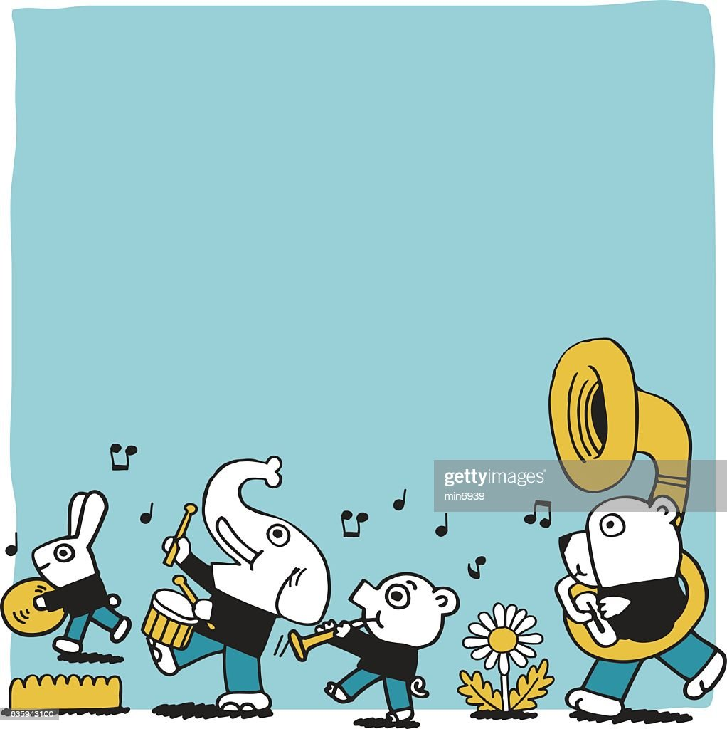 cute animal play music.vector illustration blank