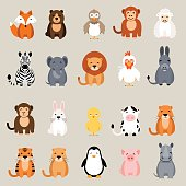 Cute animal set. Fox, bear, rooster, lion, rhino, cow, zebra