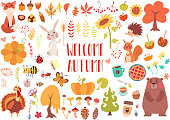 Cute animals and plants set