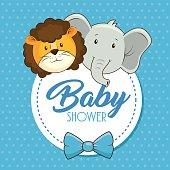 cute animals baby shower card