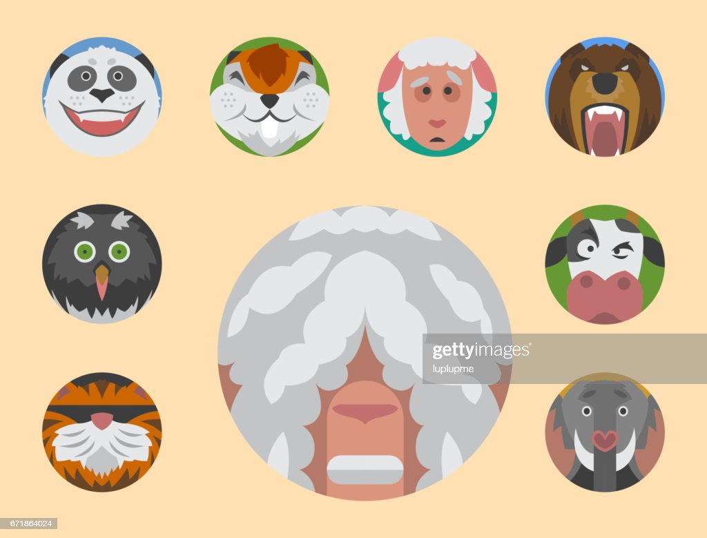 Cute animals emotions icons isolated fun set face happy character emoji comic adorable pet and expression smile collection wild avatar vector illustration