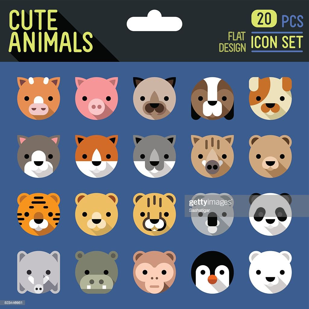 Cute animals flat long shadow icon set. Vector trendy illustrations.