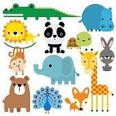 Cute animals icon set isolated on white background.