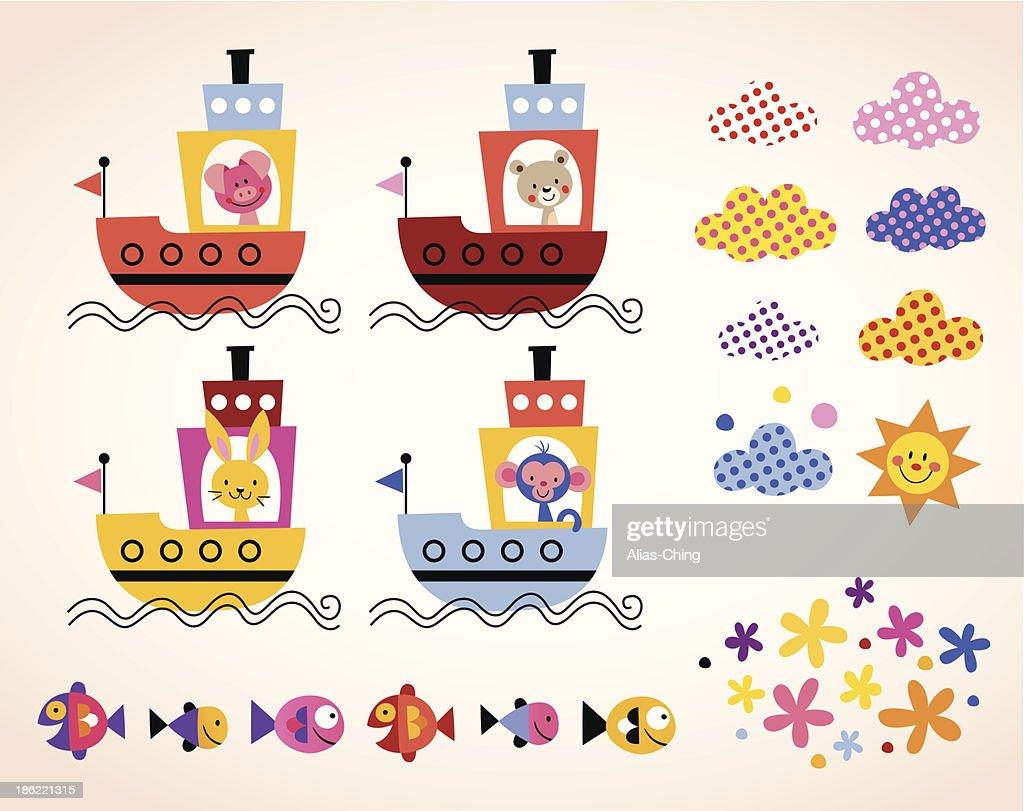 cute animals in boats kids design elements set